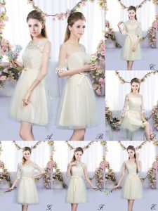 Comfortable Sleeveless Mini Length Lace and Bowknot Lace Up Dama Dress for Quinceanera with Champagne