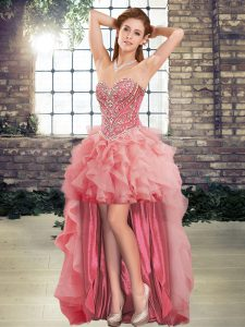 Graceful Watermelon Red A-line Sweetheart Sleeveless Tulle High Low Lace Up Beading and Ruffles Prom Evening Gown