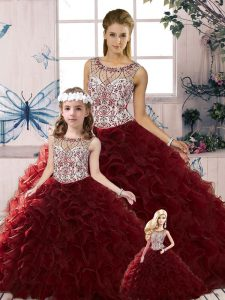 Pretty Floor Length Ball Gowns Sleeveless Burgundy Quinceanera Dress Lace Up