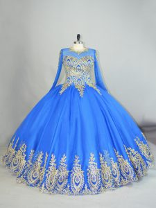 Delicate Floor Length Blue Sweet 16 Quinceanera Dress Tulle Long Sleeves Beading and Appliques