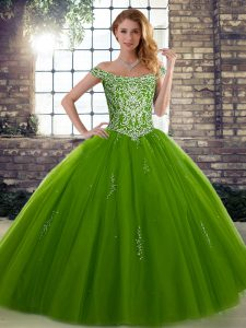 Adorable Floor Length Lace Up Sweet 16 Quinceanera Dress Olive Green for Military Ball and Sweet 16 and Quinceanera with Beading