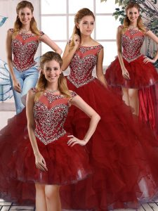 Burgundy Zipper Sweet 16 Dress Beading and Ruffles Sleeveless Floor Length