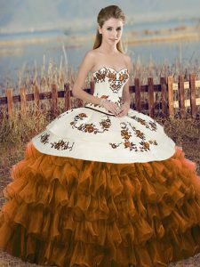 Floor Length Brown Sweet 16 Dresses Sweetheart Sleeveless Lace Up