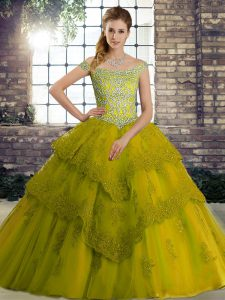 Admirable Olive Green Ball Gowns Tulle Off The Shoulder Sleeveless Beading and Lace Lace Up Vestidos de Quinceanera Brush Train