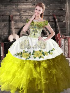 Top Selling Olive Green 15 Quinceanera Dress Sweet 16 and Quinceanera with Ruffles Off The Shoulder Sleeveless Lace Up