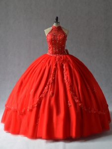 Sexy Red Sleeveless Floor Length Appliques Lace Up 15 Quinceanera Dress