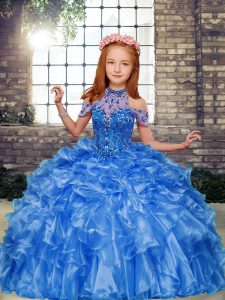 Sleeveless Floor Length Beading and Ruffles Lace Up Winning Pageant Gowns with Blue