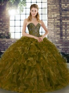Brown Ball Gowns Sweetheart Sleeveless Organza Floor Length Lace Up Beading and Ruffles Quince Ball Gowns