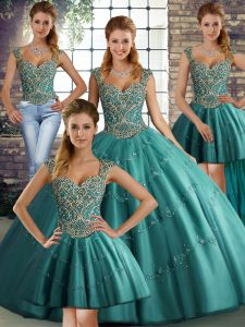 Excellent Teal Tulle Lace Up Sweet 16 Quinceanera Dress Sleeveless Floor Length Beading and Appliques