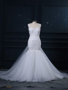 White Side Zipper Straps Lace Wedding Dresses Tulle Sleeveless Brush Train