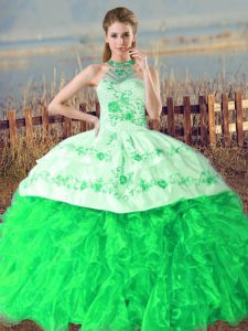 Organza Halter Top Sleeveless Court Train Lace Up Embroidery and Ruffles Quinceanera Gowns in Green