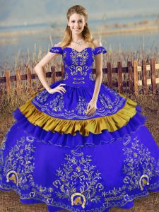 Cute Blue Satin Lace Up Sweet 16 Dress Sleeveless Floor Length Embroidery