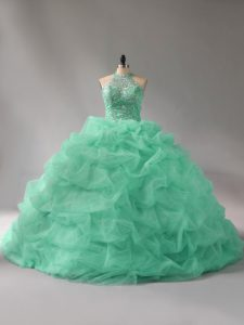 Apple Green Ball Gowns Halter Top Sleeveless Organza Court Train Lace Up Beading and Pick Ups Vestidos de Quinceanera