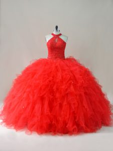 Best Selling Red Lace Up Halter Top Beading and Ruffles Quinceanera Gowns Tulle Sleeveless