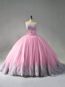 Court Train Ball Gowns Quinceanera Dress Pink Sweetheart Tulle Sleeveless Lace Up