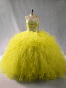 Stylish Tulle Sweetheart Sleeveless Lace Up Beading and Ruffles 15 Quinceanera Dress in Green