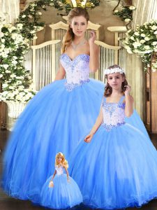 Decent Blue Lace Up Sweetheart Beading Quince Ball Gowns Tulle Sleeveless