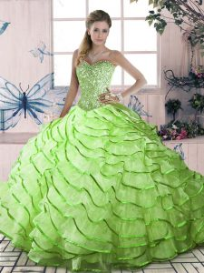 Sweetheart Sleeveless Organza Quince Ball Gowns Ruffled Layers Brush Train Lace Up
