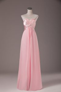 Noble Sleeveless Chiffon Floor Length Lace Up Red Carpet Prom Dress in Baby Pink with Beading