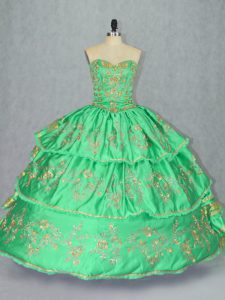 Cute Green Ball Gowns Sweetheart Sleeveless Satin and Organza Floor Length Lace Up Embroidery and Ruffled Layers Ball Gown Prom Dress
