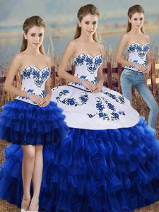 Royal Blue Three Pieces Organza Sweetheart Sleeveless Embroidery and Ruffled Layers and Bowknot Floor Length Lace Up Sweet 16 Dress