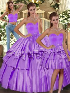 Comfortable Ruffled Layers Quinceanera Dresses Lilac Backless Sleeveless Floor Length