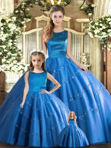 Sophisticated Floor Length Ball Gowns Sleeveless Blue Quinceanera Dresses Lace Up