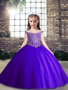 Latest Purple Ball Gowns Off The Shoulder Sleeveless Tulle Floor Length Lace Up Beading Pageant Gowns For Girls