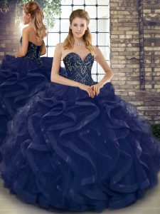 Stylish Navy Blue Lace Up Sweetheart Beading and Ruffles Sweet 16 Dress Tulle Sleeveless