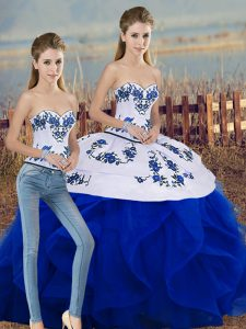 Fantastic Sleeveless Embroidery and Ruffles and Bowknot Lace Up 15 Quinceanera Dress