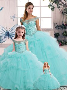 Edgy Tulle Off The Shoulder Sleeveless Lace Up Beading and Ruffles Sweet 16 Quinceanera Dress in Aqua Blue