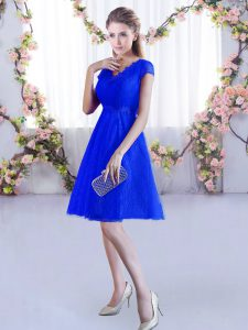 Romantic Royal Blue Lace Up V-neck Lace Court Dresses for Sweet 16 Lace Cap Sleeves