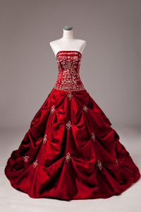 Strapless Sleeveless Wedding Gowns Brush Train Beading and Embroidery Wine Red Taffeta