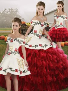 Wine Red Lace Up Off The Shoulder Embroidery and Ruffled Layers Sweet 16 Quinceanera Dress Organza Sleeveless