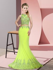 Sleeveless Sweep Train Beading and Appliques Zipper Prom Gown