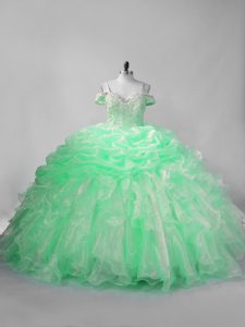 Charming Organza Sleeveless 15th Birthday Dress and Beading and Pick Ups
