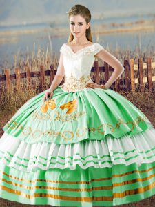 High Class Apple Green Lace Up V-neck Embroidery and Ruffled Layers Ball Gown Prom Dress Satin Sleeveless