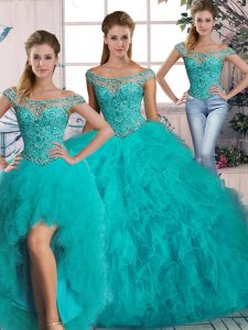 Glorious Aqua Blue Lace Up Quinceanera Dress Beading and Ruffles Sleeveless Brush Train