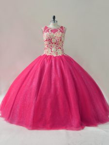 Hot Pink Ball Gowns Tulle Scoop Sleeveless Appliques Floor Length Lace Up Sweet 16 Quinceanera Dress
