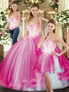 Nice Sweetheart Sleeveless Tulle Quinceanera Gowns Beading Lace Up