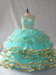 Aqua Blue Scoop Neckline Beading and Embroidery and Ruffles and Ruffled Layers Vestidos de Quinceanera Sleeveless Lace Up