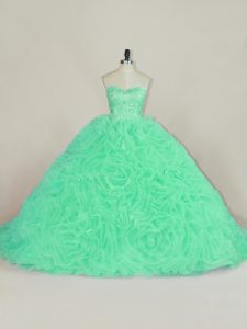 Sleeveless Court Train Beading and Ruffles Lace Up Quinceanera Dresses