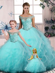 Fabulous Sleeveless Lace Up Floor Length Embroidery and Ruffles Sweet 16 Dress