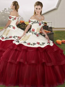 Wine Red Ball Gowns Off The Shoulder Sleeveless Tulle Brush Train Lace Up Embroidery and Ruffled Layers 15th Birthday Dress