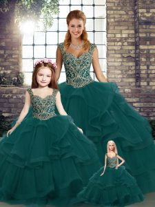 Amazing Peacock Green Ball Gowns Tulle Straps Sleeveless Beading and Ruffles Floor Length Lace Up Quinceanera Gown