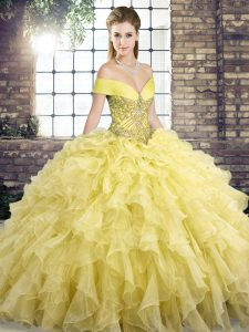 Great Brush Train Ball Gowns Sweet 16 Dress Yellow Off The Shoulder Organza Sleeveless Lace Up