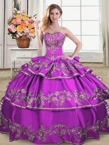 Purple Organza Lace Up Quince Ball Gowns Sleeveless Floor Length Embroidery and Ruffled Layers