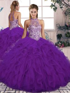 Elegant Floor Length Lace Up Quinceanera Dress Purple for Military Ball and Sweet 16 and Quinceanera with Beading and Ruffles