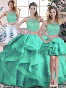 Scoop Sleeveless Quinceanera Dresses Floor Length Beading and Ruffles Turquoise Tulle