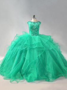 Colorful Turquoise Sleeveless Organza Lace Up Quinceanera Gowns for Sweet 16 and Quinceanera